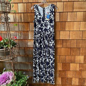 NWT Milly Navy/White Print Knit Maxi Dress - Large